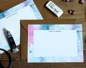 Personalized Stationery / Flat Notes / Pastel Watercolor Blues and Pink - Set (10) / A7 Size / Gift