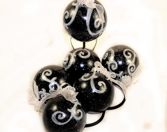 Holiday Ornament - Black with Silver Swirls with Bow - Goth - Decoration - Christmas - Gifts under 20