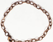 Bulk 20 pcs of Antique copper plated steel chain bracelet with lobster clasp 8inch long, bulk finished bracelet for charm bracelet