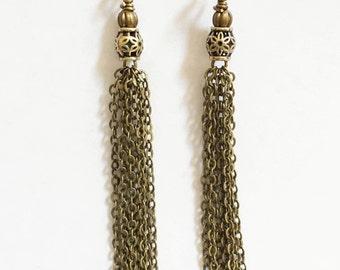 2 Antique brass finished tassel, antique bronze chain tassel, antique bronze tassel pendant Hand made in USA