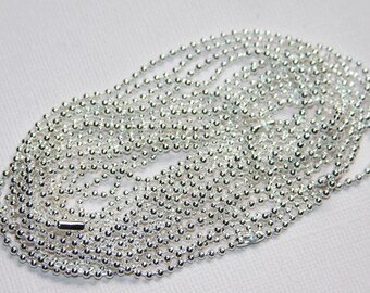 5 strands of 24 inch Silver plated ball chain with connector  1.8mm
