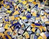 1 3/4 lb. Yellow and Blue Mixed Broken China Mosaic Tiles