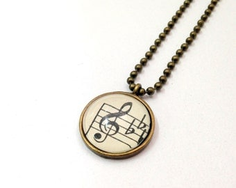 """NEW - Vintage Sheet Music G Clef -18"""" Antique Bronze Plated Ball Chain- 18mm Glass Cabochon Pendant"""