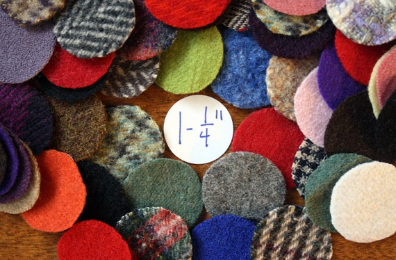 Felted Wool Circles -- 50 Wool Pennies -- 1-1/4 inch