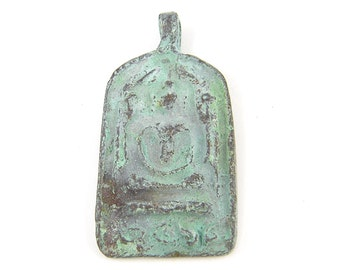 Buddha Pendant - Amulet Patina Metal Tribal Rustic Verdigris Pendant |BD2-7|1