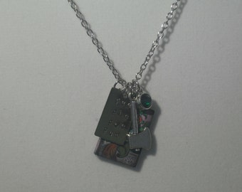 Jack and the Beanstalk cluster stamped metal charm necklace