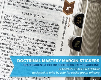 INSTANT DOWNLOAD - Doctrinal Mastery Margin Stickers - Seminary Teacher Edition - Full Set by Year