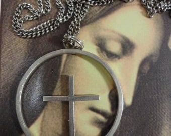 Vintage Sterling Silver Circle of Life Necklace with Cross