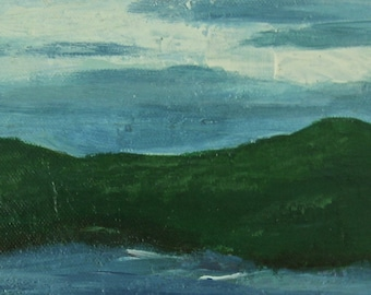 Primitive Landscape, Lake Painting, Acrylic Landscape, Lake Picture, Water Painting, Original Art by Texas Artist, Primitive Painting