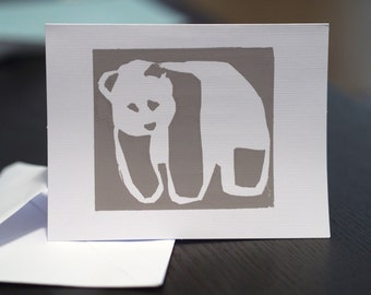 Panda A2 Blank Notecard -Screenprint