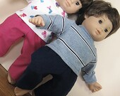 Bitty or Bitty Twin Doll Clothes - Boy Girl Twins Pink Pants and Blue Pants and Long sleeved Tees - 4 piece set