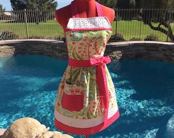 Sassy Apron, Retro Style with Daisy Eyelet Trim and Towel Loop, Womens, Full, Kitchen, Retro