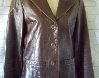 Woman's Vintage Leather Jacket, Crocodile Print Brown Leather Jacket, XS