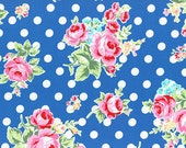 Country Blue Pink Rose Floral Polka Dot 31268 77 Fabric by Lecien Flower Sugar
