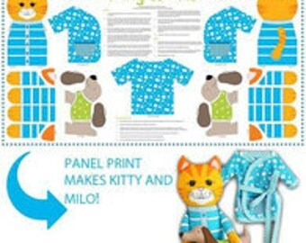 CLEARANCE! The Cat's Pyjamas- Kitty and Milo- Blue Panels- Ella Blue Fabrics -Cotton Fabric-Quilt-Sewing-Doll-Cat Panel.