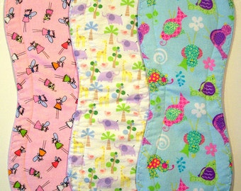 Quilted Contoured Baby Burp Cloths ~ Set of 3 ~Triple Layer ~ Flannel & Fleece ~ Baby Girl ~ Set #BC/7A
