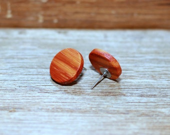 Padauk earrings - Wood earrings - Wood stud earrings - Round wood earrings - 5/8 inch