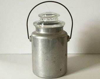 vintage aluminun tin milk jug with glass top