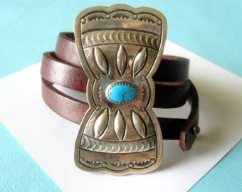 SALE...Huge Navajo Sterling Silver and Turquoise Bowtie Concho and Triple Leather Wrap Bracelet