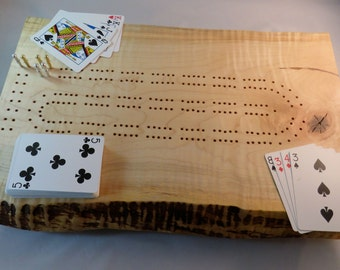 Rustic Curly Maple Cribbage Board with Live Edge K3