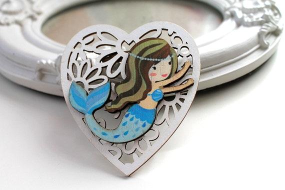 Little mermaid  wooden brooch kawaii sweet lolita egl white blue