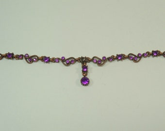 Purple Rhinestone Necklace Fragment  Perfect For Jewelry Making, Scrapbook, Paper Crafting