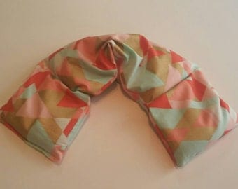 Hot Cold Therapy Wrap/ Neck Shoulder/ Flax Seed, Scented or Unscented,  peach gold prism