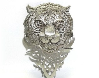 Tribal Tiger Head JJ pin Jonette Jewelry brooch vintage NOS
