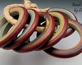 Handmade Glass Leah Deeb Lampwork - 6 Tie Dye Red Rings - Lg
