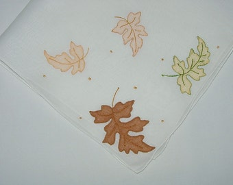Vintage White Hanky with Autumn Leaves - Hankie Handkerchief