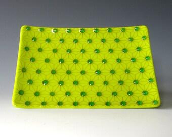 Fused Glass Dish Lemongrass Green Tesellation Handcrafted Plate Trinket Aqua