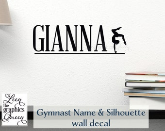 Gymnast Personalized Name Vinyl Wall Decal • Perfect for Bedroom Door or Medal Wall • Gymnastic Name Wall Decal Girls Room