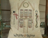 Hand Stitched, Christmas Winter Thyme Decorative Pillow, Snowman, Saltbox House, Snow, Snowflakes