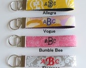 Three Letter Monogram Style Wristlet Fabric Key chain,  Keychain,  Staff Gift, Teacher Appreciation Gift, Bridesmaid Gift, Shower Favor