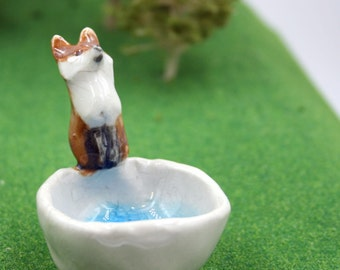 tiny fused glass bowl - fox and bowl