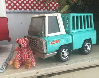Vintage Buddy L Turquoise Farm Truck - Original Red Labels - Farm Fresh Fun!