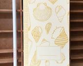 letterpress seashells handmade notebook