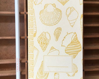 letterpress seashells handmade notebook