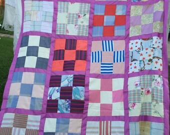 Vintage Machine Pieced Nine Patch Quilt Top Set in Purple