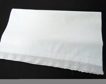 Vintage Single Orphaned White Cotton Pillowcase with White Lace Trim