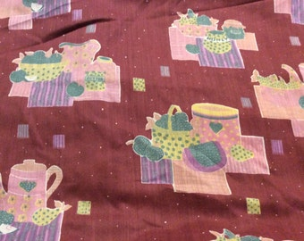 11 Yards of Vintage Dusty Rose with Pink Kitchen Print Cotton Blend Fabric