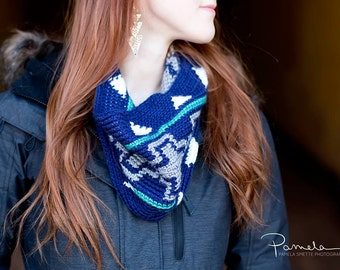 Instant Download, Geometric Cowl Crochet PATTERN