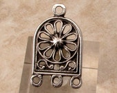 Greek Earring Connector, Chandelier, Antique Silver, Pewter, 2 Pieces, M434