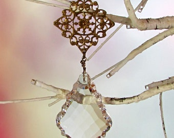 Crystal Sun Catcher & Christmas Ornament, Filigree Diamond