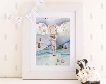 Nursery art, Baby art decor, nursery wall art, baby wall art, Children's Wall Art - Print - La Marea II - 8x11