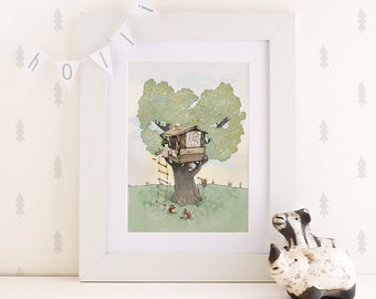 Holli s Tree House, Nursery art print, baby nursery decor,  Kids decor,  Tree House  Poster,  Reading , Poster Wall art