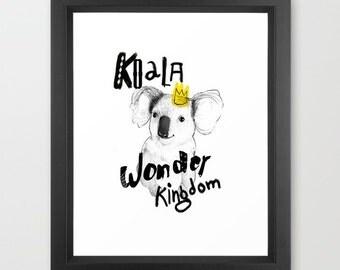 Children's Wall Art, Koala  Little Dada Collection, PRINT 11.69 x 16.54 inches (A3)