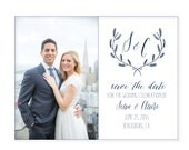 Photo Save-the-date post card, Wedding logo, laurel, handwritten style save the dates