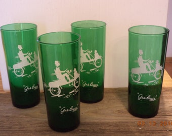 """Vintage 1950s forest green Tom Collins iced tea glasses with white etching """"Gas Buggy"""""""