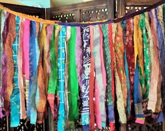 Gypsy Fringe Sari Exotic Flag Garland By the Foot!!  2 to 8 feet in length